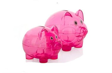 China 15cm X 23cm X 15cm Transparent Coin Bank For Girls , Pink Cute Piggy Banks supplier